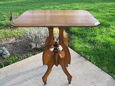 Antique Victorian Oak Parlor Lamp or Entry Table  (Restored)