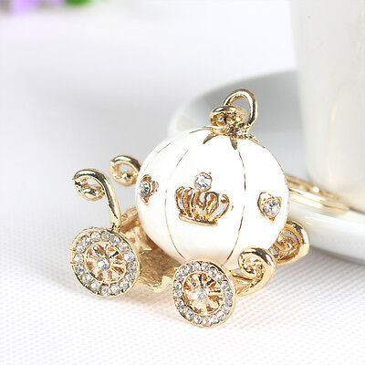 White Pumpkin Carriage Charm Pendant Crystal Purse Bag Key Ring Chain New Gift