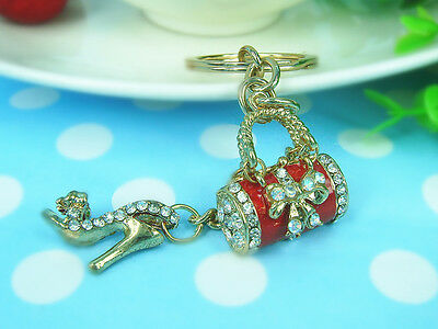 Bags & High-heeled Shoes Keyring Rhinestone Crystal Charm Pendant  Keychain Gift