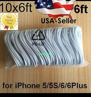 10x6ft Lightning Charger Cable Charging Data Sync cable for  iPhone 7 +6/5ES lot