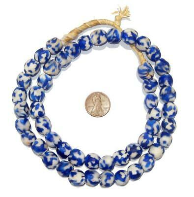 African Recycled Glass Beads - Fused - 14mm (Cobalt Blue) Ghana