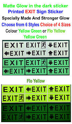 "Matte Glow in the Dark Printed "" EXIT "" Sign Sticker * Emergency * Safety *"