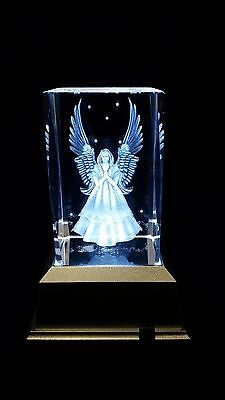 Angel - 3D Laser Etched Crystal Block With Clear 4 Lights LED Light base