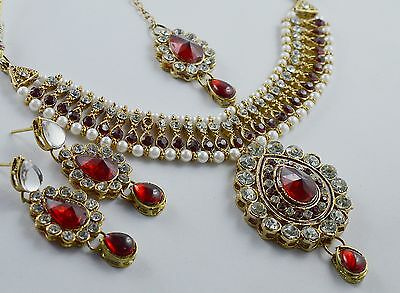 Antique Indian Gold Plated Stones Kundan Necklace Earrings Fashion Jewelry Set