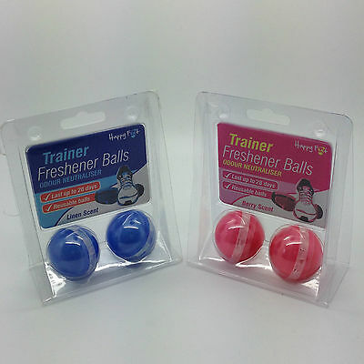 HAPPY FEET Sports Shoe Trainer Odour Freshener Deodoriser 2 Pack PINK BLUE NEW