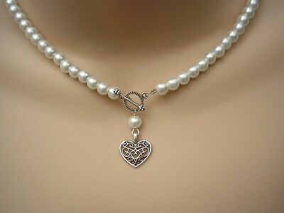 Vintage Style Handmade Pearl Necklace Antique Silver Color TBar Toggle Heart 10V