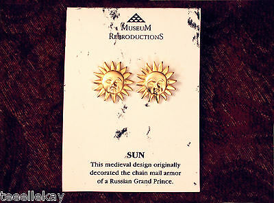MEDIEVAL Gold Toned SUN EARRINGS Russia 16thc MUSEUM Reproduction NY Pub Library