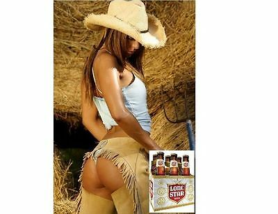 Lone Star Beer Cowgirl  Ad refrigerator magnet 3 1/2 X 3 1/2 ""
