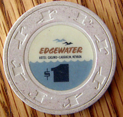 Vintage Edgewater Laughlin Nevada 1.00 Gaming Chip  Early Nice Look