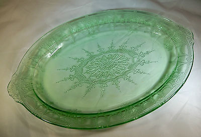 """Hocking Glass Co. Cameo Ballerina Green 12"""" By 8"""" Oval Serving Platter!"""