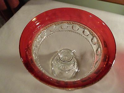BEAUTIFUL COMPOTE  RUBY FLASH KINGS CROWN THUMB PRINT GLASS INDIANA GLASS