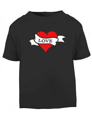 Black Love Tattoo Print T-shirt, Rockabilly, Punk, Goth, Alternative, 0-24 M