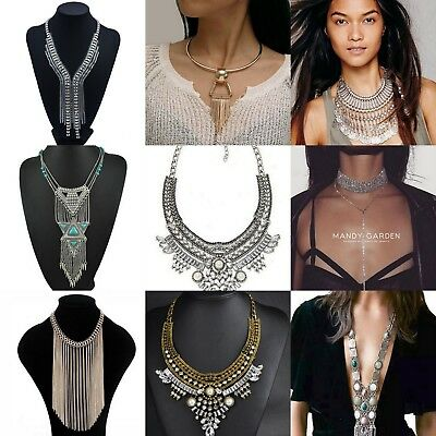 UK Women Fashion Crystal Flower Charm Choker Chunky Statement Bib Chain Necklace
