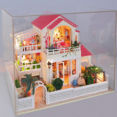 Kit Wood Dollhouse Miniature DIY House w/Music+cover New Large villa Gift D002