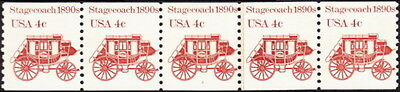 US - 1982 - 4 Cents Reddish Brown 1890's Stagecoach Coil #1898A PNC5 Plate #4 NH
