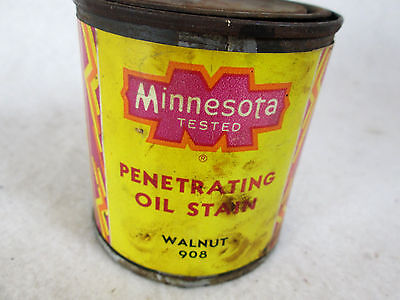 Vintage Minnesota Tested penetrating oil stain empty 1/2 pint metal can