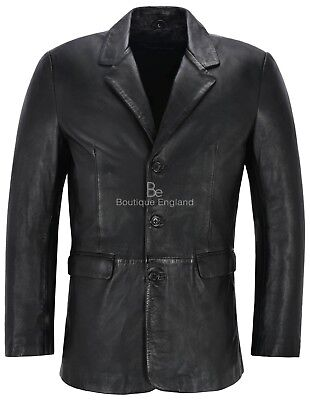 Mens Leather BLAZER Black Classic ITALIAN Tailored Soft REAL LEATHER