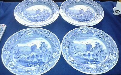 """(4) BEAUTIFUL SPODE BLUE ROOM COLLECTION LUCANO 10"""" SCALLOPED  DINNER PLATE"""
