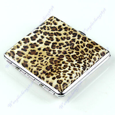 Pattern Pocket Leopard Leather Cigarette(20 pcs) Tobacco Case Box Holder Yellow