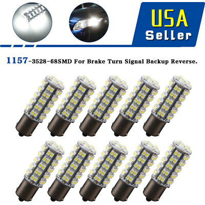 10 x Xenon White 1157 BAY15D 68-SMD Car Tail Brake Stop Led Light Bulb 2057 7528