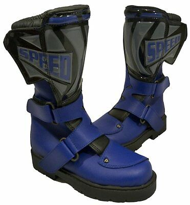 Kids Childs Leather Childrens Motorcycle Motorbike Trophy Bike Boot Blue - T