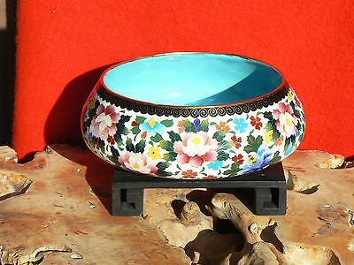 """B4172 Exquisite Vtg Japanese Inaba Cloisonne Silver n Brass Wire Bowl 7-1/4""""D"""