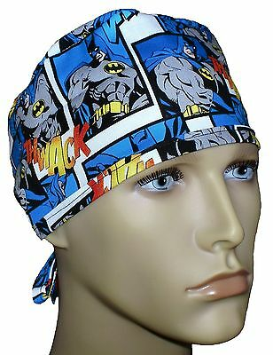 Batman Surgical Scrub Hat Theatre Cap Batman Cartoon Tie In Back