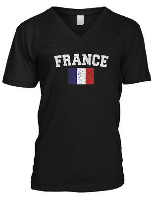 France Faded Distressed Flag French Francaise Country Pride Mens V-neck T-shirt