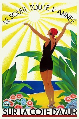 Vintage Art Deco Travel Poster Côte d'Azur 1920s French Riviera Sun Beach Retro