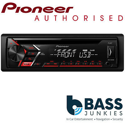 Pioneer DEH Single Din USB CD MP3 AUX In RCA Car Stereo Radio Player Red Display