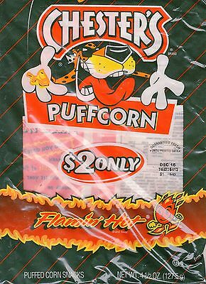 4 Bags Chester's Flamin' Hot Puffcorn 4.5oz Bag Get Flamin' Hot All Winter Long