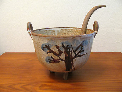 Art Studio Pottery Asian Japanese Style Soup Tureen Bowl Footed with Ladle