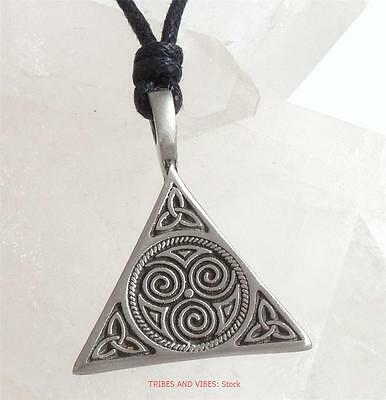 Celtic Triquetra Pendant Necklace Spirals of Life Power of 3 pagan Jewellery NEW