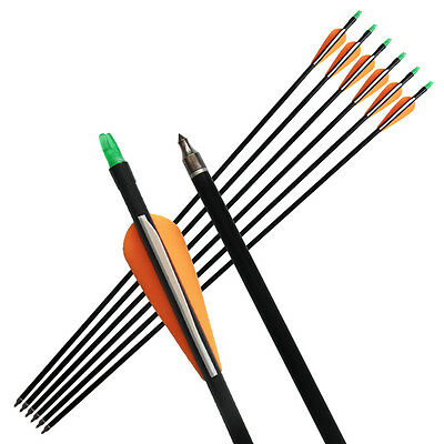 """6 Pcs 33"""" Fiberglass Arrows Screw On/off Archery Hunting Target For Recurve Bow"""