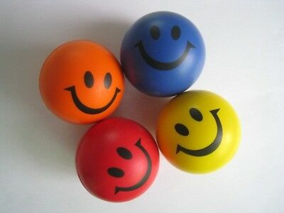Bulk Lot 24 Hand Stress Relief Squeeze Smile  Face Foam Ball