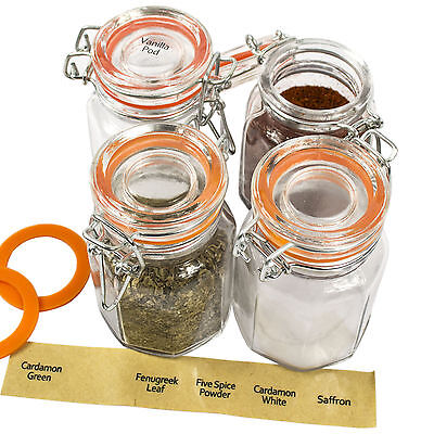 Set Of 4 Vintage Clip Top Clear Glass Airtight Spice Food Herb Storage Jars Set