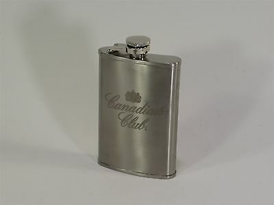 CANADIAN CLUB SMALL 5oz STAINLESS STEEL POCKET FLASK AUTHENTIC