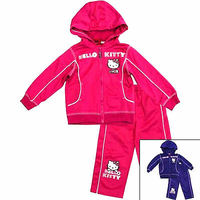 Kids Girls Disney HELLO KITTY 100% Polyester Casual Sleeved Hooded Tracksuit Set