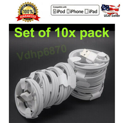 10x 6FT 8 Pin USB Data Sync Long Charger Cable Cord Lot For iPhone 5 5SiPhone7-6