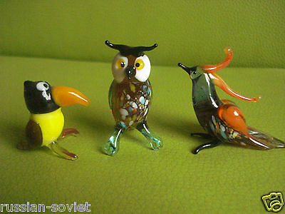 3 X Murano Glass Collectable Miniature Hand Made Birds Figures Owl Parrot