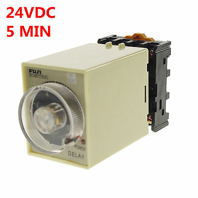 24VAC/DC 0-5 Minutes Power Off Delay Time Relay With Socket Base