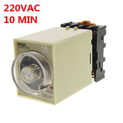 220VAC/DC 0-10 Minutes Power Off Delay Time Relay With Socket Base PF083A