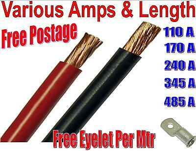 PVC FLEX BLACK RED BATTERY EARTH / STARTER WELDING CABLE 110 170 240 345 485 Amp