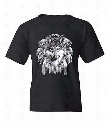 Dream Catcher Wolf Youth T-shirt Native Indian Feathers Animal Tee Gift For Kids