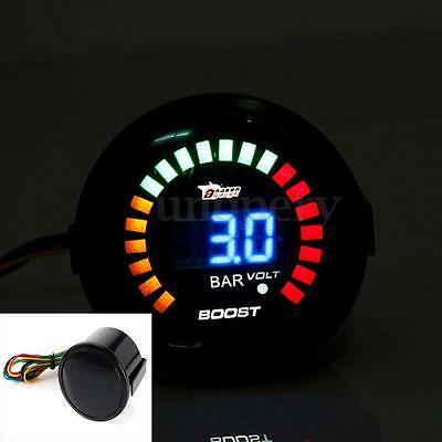 "2"" 52MM Universal Digital 20 LED Car Turbo Boost Vacuum Gauge Meter Bar 0-4V New"