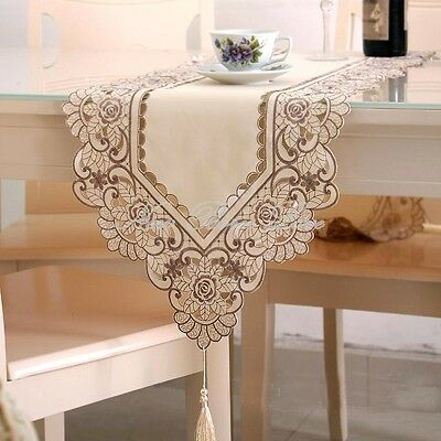 YAZI Elegant Beige Embroidery Table Runner Cloth New Year Holiday Decor 40x175CM