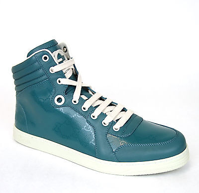 71a92158d38 NEW GUCCI MEN S Classy White Leather High Top Sneakers Shoes GG 11.5 ...