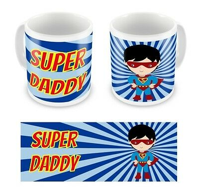 Personalised Childrens Kids Father's Day Super Hero Daddy Dad Mug Cup Gift Boxed