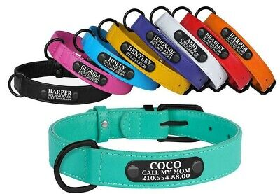 Soft Padded Leather Personalized Dog Collar for Small Medium Large Dogs Pet ID