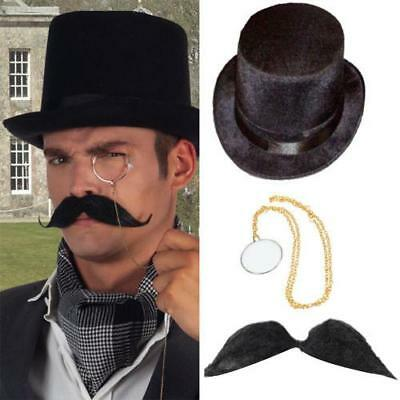 Lord Manor Monacle Eye Glasses Moustache Baron Man Rich Top Hat Victorian Gents